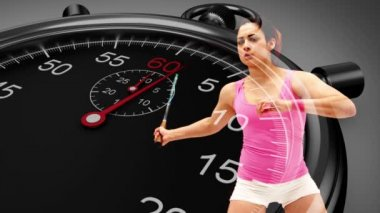 Stopwatch graphic over basketball player — Stock Video
