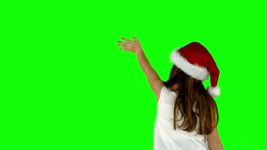 Festive little girl waving — Stock Video