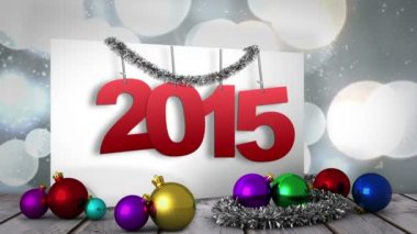 2015 on poster with decorations — Stock Video