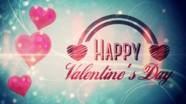 Shimmering hearts with valentines message — Vídeo Stock