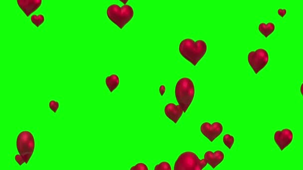 Red hearts floating against green screen — Vidéo