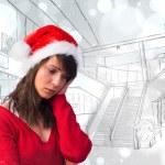 Sad woman in santa hat — Stock Photo #62467129