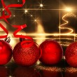 Four red christmas ball decoration — Stock Photo #62469283