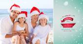 Family during Christmas day at beach — Stock Photo