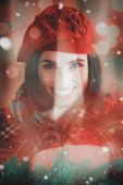 Smiling brunette with cover and red hat — Stock fotografie