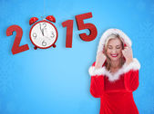 Festive blonde with hood up — Stock Photo