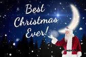 Santa shows something to camera — Foto de Stock