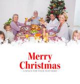 Family raising their glasses at christmas — Stock Photo