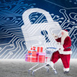 Santa delivering gifts from cart — Stock Photo #62470637
