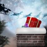 Santa flying against full moon — Stock Photo #62471819
