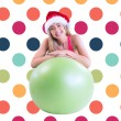 Blonde posing with exercise ball — Stock Photo #62472741