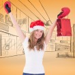 Blonde with boxing gloves and shopping bag — Stock Photo #62474049