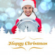 Composite image of festive brunette holding clock — Stock Photo #62474191