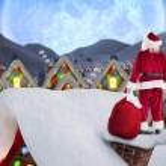 Santa on cottage roof — Stock Photo #62477327