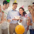 Casual businessmen team celebrating a birthday — Stock Photo #62478329
