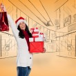Smiling woman with christmas presents — Stock Photo #62478515