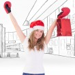 Blonde with boxing gloves and shopping bag — Stock Photo #62478725