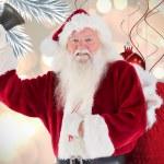 Happy santa ringing bell — Stock Photo #62479059