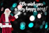Santa shows something to camera — Stock Photo