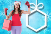 Festive brunette in boxing gloves — Stock Photo