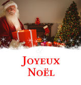 Happy santa delivering presents at christmas — Stock Photo