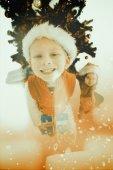 Festive little siblings smiling — Stock Photo