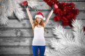 Festive redhead cheering with boxing gloves — Stock Photo