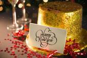 Happy new year card on table — Foto Stock