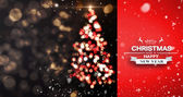 Snow falling against shimmering christmas tree — Stock Photo
