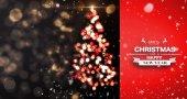 Snow falling against shimmering christmas tree — Fotografia Stock