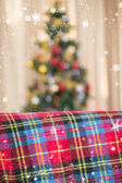 Warm blanket on the couch at christmas — Stok fotoğraf