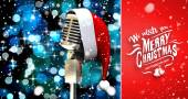 Microphone with santa hat — Stock Photo