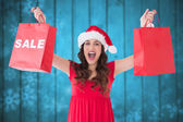 Composite image of brunette showing sale bag and shopping bag — Stock Photo