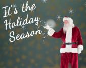 Santa shows something to camera — Stok fotoğraf