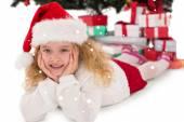 Festive little girl smiling — Stock Photo