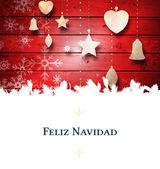 Christmas greeting card against decorations — Zdjęcie stockowe