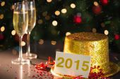 2015 card on table set for party — Zdjęcie stockowe