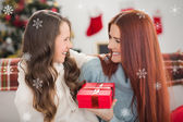 Daughter giving mother present — Stock Photo