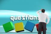 Questions against futuristic bright blue background — Fotografia Stock