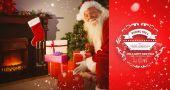 Smiling santa delivering gifts — Stock Photo