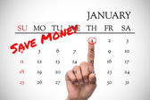 New years resolutions on january calendar — Stock Photo