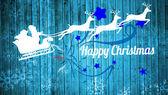 Santa claus and reindeer against snowflake pattern — Stock Photo