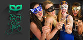 Friends with masks on holding champagne — Stock Photo