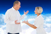 Angry older couple arguing with each other — Stock Photo