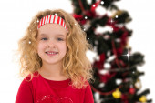 Festive little girl smiling — Stock Photo