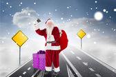 Santa claus ringing bell — Stock Photo