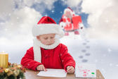 Cute boy drawing festive pictures — Foto Stock