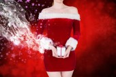 Mid section of sexy santa girl — Stock Photo