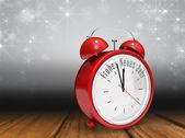Frohes neues jahr in alarm clock — Stock Photo