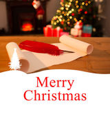 Merry christmas against christmas parchment — Foto Stock